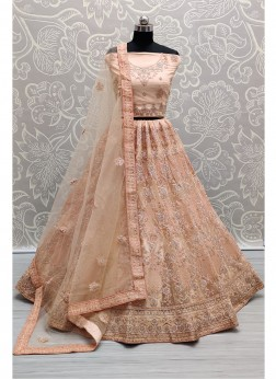 Luxurious Peach Corded Embroidery On Net Designer Lehenga Choli