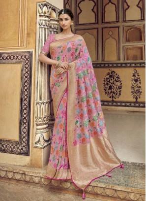 Luxurious Pink Designer Pure Dola Silk Saree