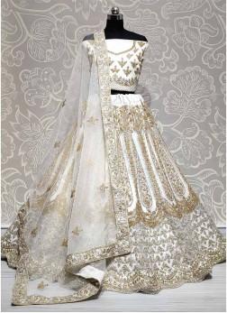 Luxurious White Zircon Diamond Studded Dori Embroidered Lehengacholi
