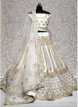 Luxurious White Zircon Diamond Studded Dori Embroidered Lehengacholi