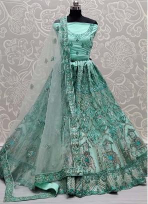Luxury Dori & Thread Work On Net Bridal Lehenga Choli in Sky Blue