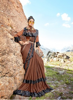 Lycra Brown Saree