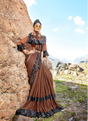 Lycra Brown Saree