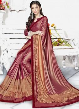 Lycra Fancy Classic Designer Saree in Maroon