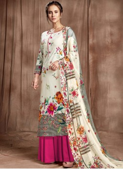 Magenta and Off White Digital Print Cotton Designer Palazzo Salwar Kameez
