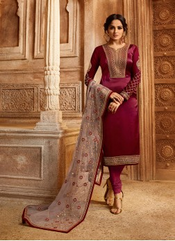 Magenta Ceremonial Georgette Satin Designer Straight Suit