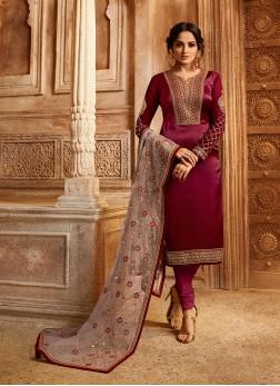 Magenta Ceremonial Georgette Satin Designer Straight Suit