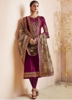 Magenta Churidar Designer Suit