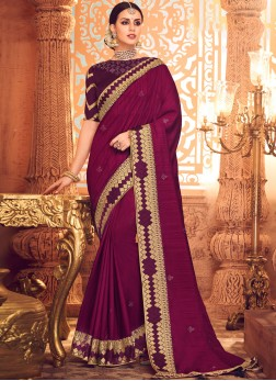 Magenta Embroidered Mehndi Designer Saree