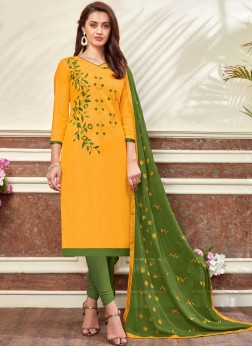Magnetic Embroidered Cotton Churidar Designer Suit