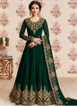 Magnetic Embroidered Green Anarkali Floor Length Salwar Kameez