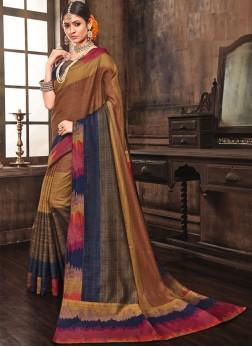 Magnetize Abstract Print Multi Colour Art Silk Designer Traditional Saree