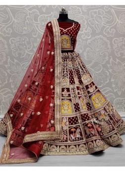 Magnificent Art Of Work On Velvet Designer Bridal Lehengacholi In Maroon
