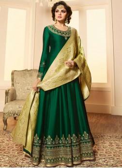 Magnificent Embroidered Green Anarkali Salwar Suit
