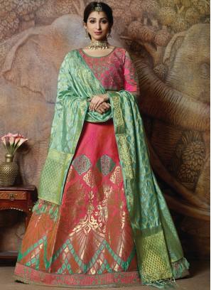Magnificent Embroidered Rose Pink Silk Designer Lehenga Choli