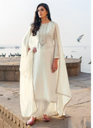 Magnificent Embroidery Georgette Pant Style Salwar Suit In White
