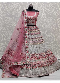 Magnificent Flower Patterned Designer Flaired On Net Lehenga Choli In Pink