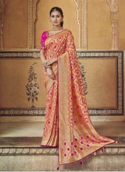 Magnificent Salmon Pink & Rani Designer Pure Dola Silk Saree