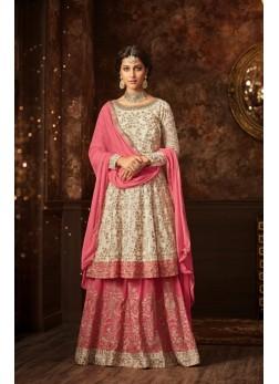 maisha silk white pink sharara suit