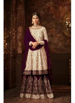 maisha silk white purple sharara suit