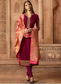 Majestic Faux Georgette Party Churidar Designer Suit