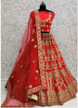 Majestic Zardosi Work Red Bridal Lehenga Choli with Blouse Dupatta