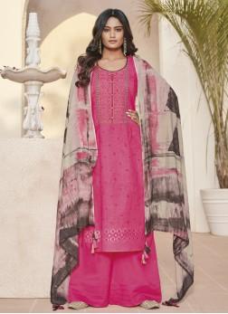 Majesty Linen Abstract Print Hot Pink Designer Pakistani Suit