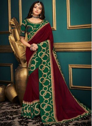 Majesty Maroon Embroidered Art Silk Designer Traditional Saree