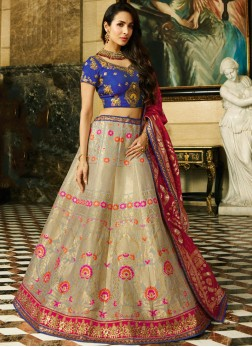 Malaika Arora Khan Beige and Blue Wedding Lehenga Choli