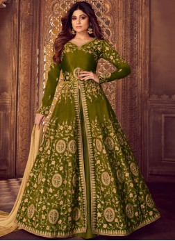 Malbari Silk  Embroidered Green Designer Lehenga Choli