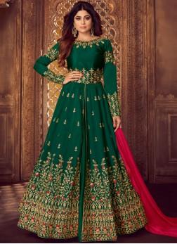 Malbari Silk  Green Embroidered Designer Lehenga Choli