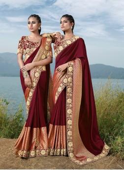 Maroon Art Silk Embroidered Trendy Saree