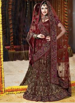 Maroon Handwork bridal lehenga with Designer blouse
