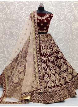 Maroon Bridal Lehenga Choli  Renowned Embroidery work with Designer Duppta