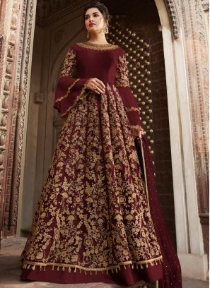 Maroon Color Anarkali Salwar Suit