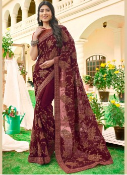 Maroon Color Designer Saree