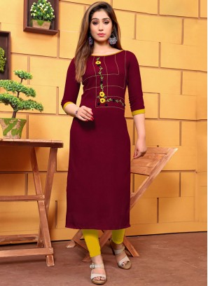 Maroon Cotton Festival Party Wear Kurti