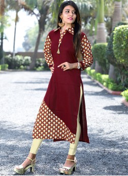 Maroon Cotton Party Wear Kurti