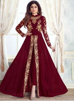 Maroon Embroidered Anarkali Salwar Suit