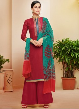 Maroon Embroidered Cotton Pakistani Suit