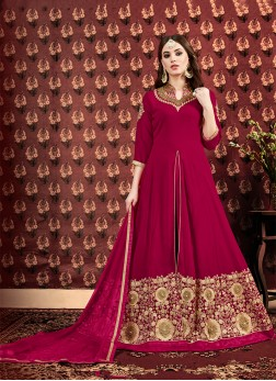 Maroon Embroidered Designer Floor Length Salwar Suit