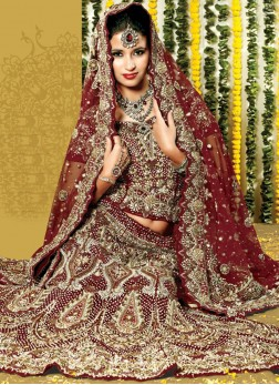 Maroon Embroidered Net Handwork Lehenga Choli with Designer Blouse