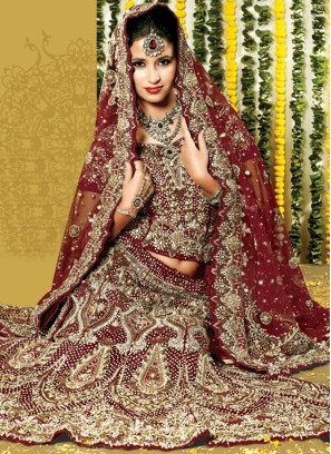 Maroon Embroidered Net Lehenga Choli