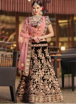 Maroon Embroidered Wedding Lehenga Choli