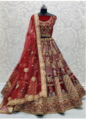 Maroon Enchanting Baarat Style Heavy Handwork Touch up Bridal Lehenga Choli