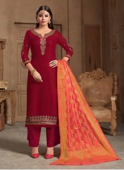 Maroon Georgette Satin Designer Straight Salwar Suit