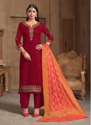 Maroon Georgette Satin Designer Punjabi Salwar Suit