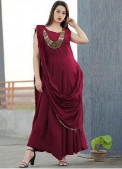 Maroon Plain Designer Gown