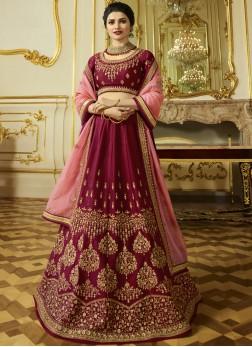 Maroon Sangeet Silk Designer Lehenga Choli