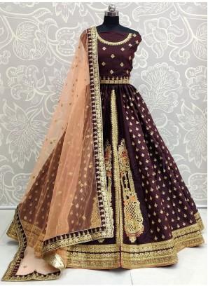 Maroon Silk Embroidered Designer Lehenga Choli with Blouse